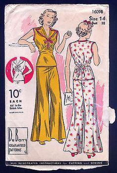 Cuteness! 1930 Du Barry Pattern Ladies' Sailor Style Beach Pajamas