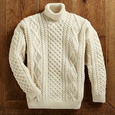 Men's Irish Aran Turtleneck Sweater - National Geographic Store