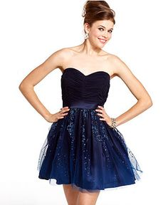 Hailey Logan Juniors Dress, Strapless Ruched Pleated Glitter A-Line - Juniors Homecoming Dress Shop - Macy's