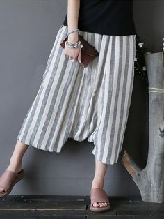 Pants or trousers role casual women striped side pockets drop crotch capri pants #5.11-taclite-pro-trousers-pants #hengsong #trousers #pants #trousers #pants #en #español #trousers #pants #size