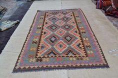 Afghan Maimana Flat Kilim Area Rug 251x181 cm Hand Woven Wool Kelim Carpet #4173 #Unbranded #TraditionalPersianOriental