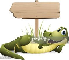 – cartoon illustration of an alligator with blank sign - Top Trends Cute Animal Illustration, Cute Animal Drawings, Cartoon Drawings, Crocodile, Alligator Crafts, Bodybuilding Logo, Blank Sign, Alphabet For Kids, Craft Day