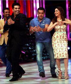 Salman Khan and Madhuri Dixit in Jhalak Dikhla Jaa to promote his upcoming reality show Bigg Boss 7.