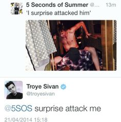 I don't know whether to pin this on my Troye board or my 5sos board... BUT OMG TROYE GETTIN SASSY