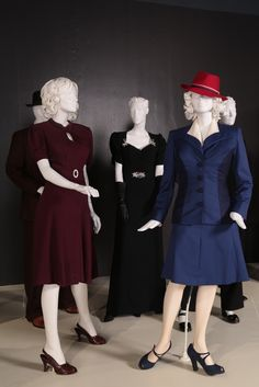 Another shot of two of Peggy's outfits and Dottie's dress from the FIDM exhibit!