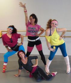 NEWS FLASH!!! The new style of the '80s are the workout clothes. For girls, every women, including me, wears and owns tights with a leotard, a crop top, bright colored headbands, and most of all, LEG WARMERS!!!! This is a picture of my friends and I. We just did a killer aerobics workout!!! Can't wait for tomorrow to wear my new workout clothes!!!  -Julia
