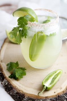 Cilantro Jalapeno Margarita... I'll probably add the cilantro & jalapeño to the shaker to get more flavor or use them in a simple syrup