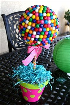 Gumball Topiary....would make an awesome, inexpensive centerpiece!