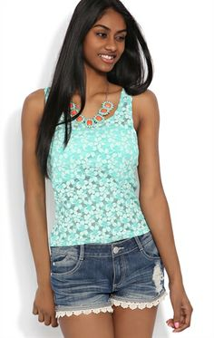 Two Tone Floral Lace Tank
