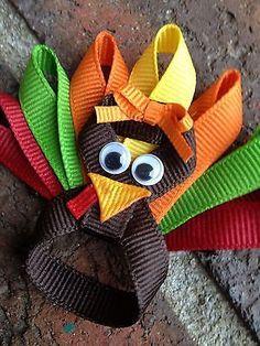 Baby Toddler Girl Thanksgiving Turkey Hair Bow Clip Orange Green Burgandy Yellow | eBay