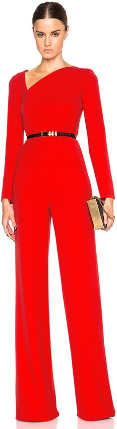 $2,295, Roland Mouret Herring Viscose Crepe Jumpsuit. Sold by Forward By Elyse Walker. Click for more info: https://lookastic.com/women/shop_items/340534/redirect