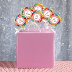 Our DIY Girl Baby Shower Lollipop Display allows you to create a display box perfect for our personalized lollipops for your baby shower.