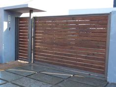 My Home, House Exterior, House Gate Design, House Design, Door Design, Wood Garage Doors, Outdoor Design, Fence Design, Home Deco
