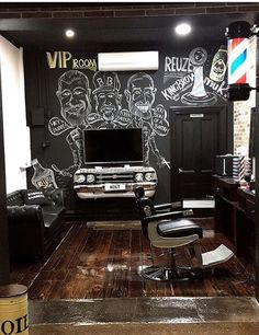 Barber Shop Interior, Barber Shop Decor, Hair Salon Interior, Salon Interior Design, Kings Barber Shop, Barber King, Mobile Barber, Haircut Salon, Salon Lighting