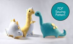 Dinosaur Pattern Bundle, PDF Sewing Pattern, Brontosaurus T-Rex and Stegosaurus Sewing Pattern Set Plushie Patterns, Sewing Patterns Free, Free Sewing, Animal Sewing Patterns, Sewing Stuffed Animals, Stuffed Animal Patterns, Easy Sewing Projects, Sewing Projects For Beginners, Muñeca Diy