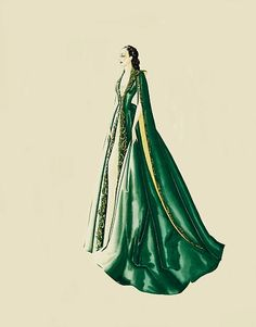 Diseño de vestuario Walter Plunkett vestido Scarlett en una bata de terciopelo verde esmeralda para la escena en la que informe de ello a Rhett que ya no están a compartir una cama. El vestido es precioso bordado con hilos de oro y cuenta con forro de seda vara de oro visible en las mangas finales.