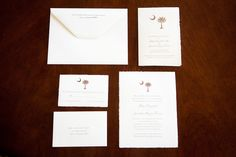 South Carolina wedding , palm & crescent design, arturo Italian cotton handmade paper, offset press by paper ink.