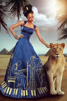 African Style, long blues and jazz dress, wish it could come with the lionness African Inspired Fashion, African Dresses For Women, African Print Fashion, Africa Fashion, African Attire, African Wear, African Women, African Prints, African Style