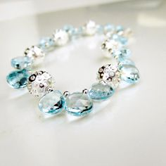 Blue Bracelet Blue Topaz Jewelry December by jewelrybycarmal, $185.00