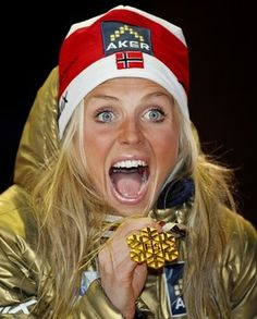 Therese Johaug after winning the gold medal in the 30 k cross country skiing, World Championships, Oslo 2011