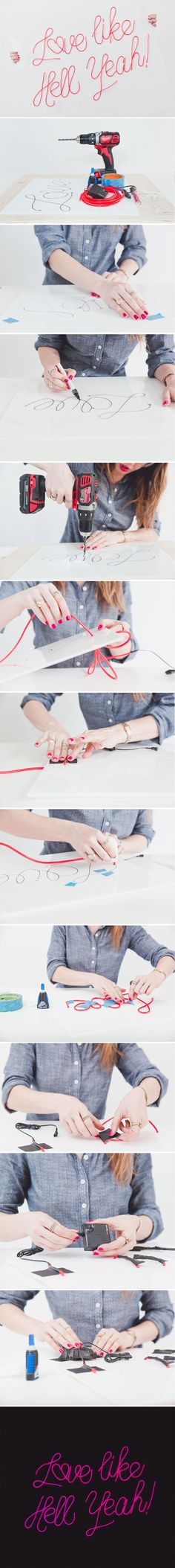 diy neon sign el wire tutorial steps