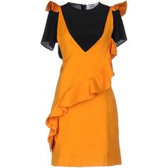 Msgm Short Dress ($450) ❤ liked on Polyvore featuring dresses, orange, pocket dress, short dresses, short-sleeve dresses, orange swing dress and swing dress