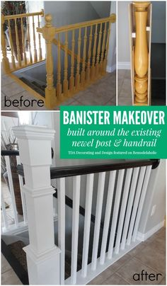 Beautiful stair railing renovation using the existing newel post and handrail | TDA Decorating and Design featured on @Remodelaholic #makeover #staircase: