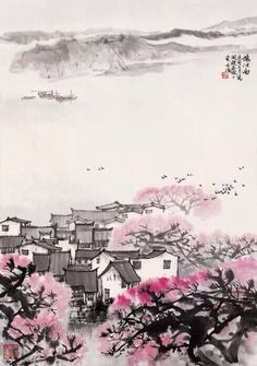 宋文志,江南春色 Japan Painting, China Painting, Landscape Paintings, Watercolor Paintings, Mechanical Art, Chinese Landscape, Writing Art, China Art, Japan Art
