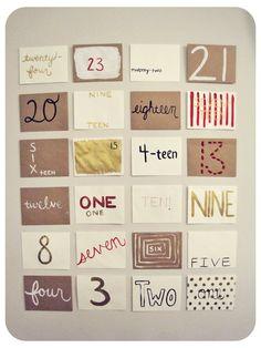 DIY Advent 3 Maar interessanter: memory maken met geschreven en met cijfers