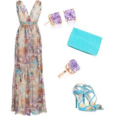 Amethyst & Turquoise, created by zombikitti on Polyvore (Love that, especially for summer vacation!)