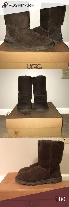 Ladies Essential Short Brown UGGs Price Negotiable Ladies Brown Short Uggs very gently used!  All signs of usage in pictures.  Please leave a comment with any questions you have! 😊 UGG Shoes Winter & Rain Boots
