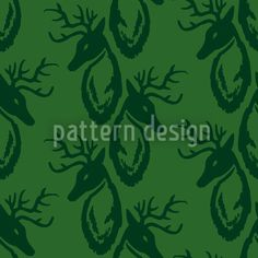 Deer-Vector-Ornament, designed by Martina Stadler Deer Vector, Swiss Design, Oh Deer, Vector Pattern, Antlers, Illustration, Stamping, Green, Ornament
