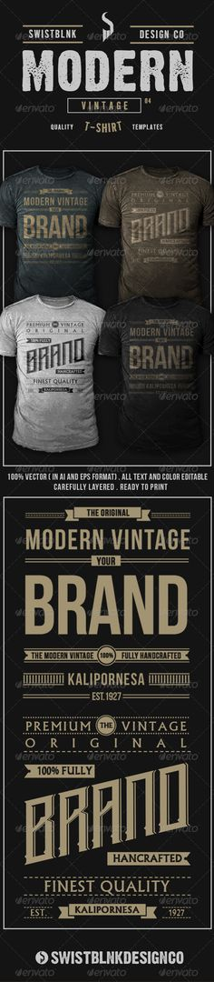 Modern Vintage T-Shirt Template Vector EPS, AI. Download here: http://graphicriver.net/item/modern-vintage-tshirt-04/6717309?ref=ksioks