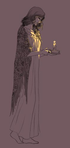   By Rakiah   This piece pictures how I feel when getting ready for bed and wearing a long flowy robe, and lighting my candle to read by.. One of my favorite times of day! Soon my candle will be flickering on the walls of tall curved passages, and my feet tiptoeing across the cold marble floors of a castle..