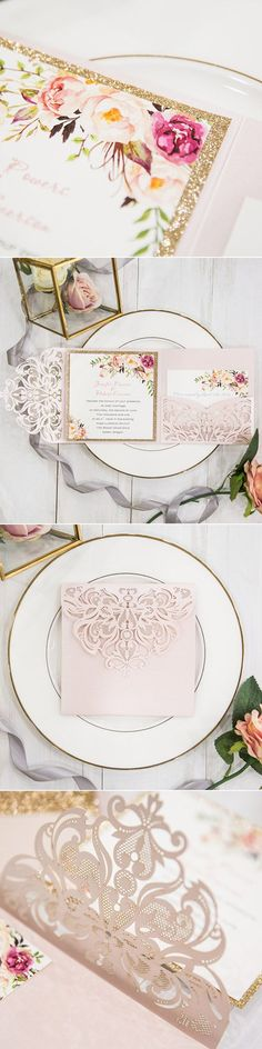 romantic blush pink flower glittery laser cut pocket wedding invitation suite#weddinginvitations#ElegantWeddingInvites