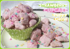 Strawberry Cupcake Puppy Chow--Volley for the Cure!