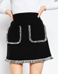 Image 3 of ASOS A-Line Skirt with Fringe