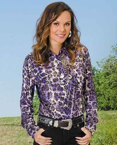 25aa018c27475 Wrangler Purple and Gold Animal Print Ultimate Riding Shirt