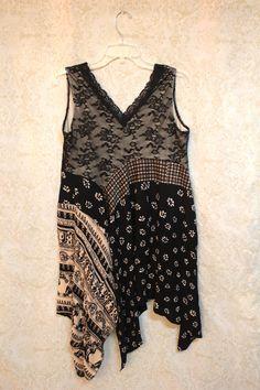 REVIVAL Boho Shirt, Shabby Chic Romantic, Bohemian Junk Gypsy Style, Mori Girl…