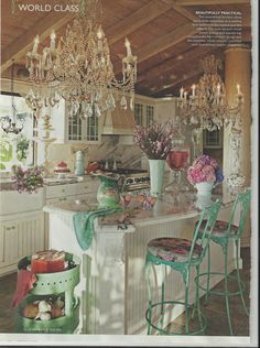 Shabby Chic, fru fru but gorgeous - this would be a no-kid or no kidlike person zone.  Perfect for Momma and Boo Boo's tete e tetes.