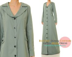 Dusty Mint Cotton Abaya Open Abaya Cotton by Tailored2Modesty