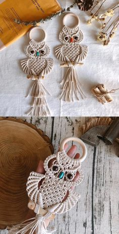 is made by high quality cotton rope.look very cute with beads eyes, perfect wall art to decor your living room, bedroom,kid room and dorm, Small Nordic with 55 cm. Macrame Wall Hanging Patterns, Macrame Plant Hangers, Free Macrame Patterns, Macrame Owl, Macrame Knots, Macrame Design, Diy Wall Art, Wall Decor, Macrame Projects