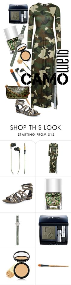 """Glamo Camo"" by rachael-aislynn ❤ liked on Polyvore featuring Kreafunk, Topshop, Yves Saint Laurent, Nails Inc., J.Crew, Christian Dior, Dermablend, Jane Iredale, Louis Vuitton and GREEN"