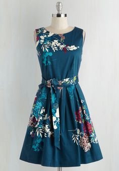 Cast and Crudités Dress by Closet London - Mid-length, Cotton, Woven, Blue, Multi, Floral, Print, Daytime Party, Fit & Flare, Sleeveless, Better, Pockets, Belted, Work, Vintage Inspired, 50s