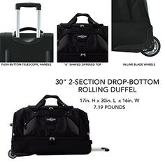 """Shop TPRC 30"""" Durable Rip-Stop Nylon Rolling Luggage Duffel Bag, 30 Inch, B – Luggage Factory Luggage Store, Best Deals Online, Duffel Bag, Online Bags, Rolls, Zipper, Black, Products, Dime Bags"""