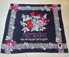"Lulu Guinness lrg black silk ""Life is a Bed of Roses"" 35""x34"" scarf floral motif #LuluGuinness #Scarve"