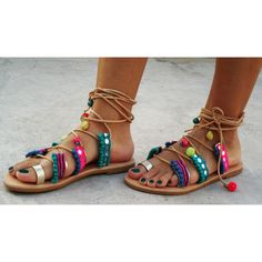 Tie Up Gladiator Leather Sandals, Greek Leather Sandals, Boho Sandals,... (€159) via Polyvore featuring shoes and sandals