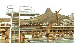 Film still of Sea Point swimming pool, Cape Town, South Africa, 1964, photographer unknown.