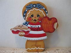 HP-gingerbread-USA-apple-pie-Patriotic-July-4th-SHELF-SITTER-hand-painted-USA