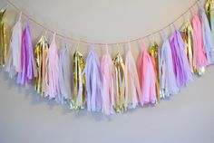 Misty Pink Tassel Garland pink lilac gold by StudioMucci on Etsy